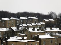 Terraced houses covered in snow in hebden bridge west yorkshire Stock Image