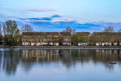 Terraced Houses at Surrey Water Stock Photos