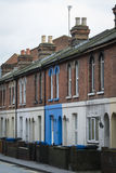 Terraced housing. Row of Victorian houses in English town Stock Photos