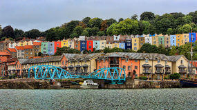 Terraced housing district in Bristol city harbor in England Stock Image