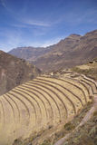 Terraced Inca fields and ruins of village Stock Image