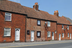 Terraced Red Brick Houses. On a Street in an English Town Stock Image