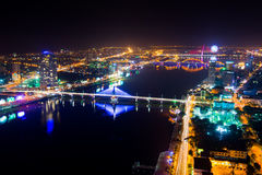Danang city at night. DANANG, VIETNAM, JANUARY 26: Danang city at night on January 26, 2015 in Danang, Vietnam. Danang is a big city in middle of Vietnam royalty free stock photography