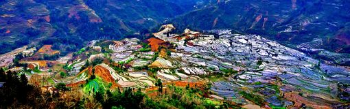 Terraced rice fields in Laohuzui Yuanyang Royalty Free Stock Images