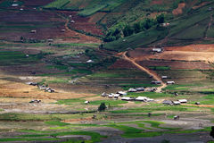 Terraced rice fields with water and houses on stil Stock Images