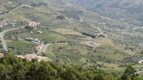 Terraced vineyards in Douro Valley. Pan move from right to left of terraced vineyards in Douro Valley, Alto Douro Wine Region in northern Portugal, officially stock video footage