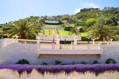 Terraces of the Bahai Gardens. Israel stock photos