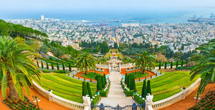 The terraces of Bahai Gardens royalty free stock image