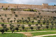 Terraces of the Kidron Valley and the the wall of Stock Image