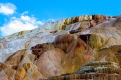 Terraces, Limestone and Rock Formations at Mammoth Hot Springs i stock images