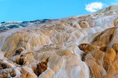 Terraces, Limestone and Rock Formations at Mammoth Hot Springs i royalty free stock photo