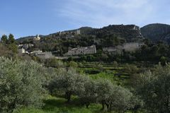 Oppede-le-vieux Luberon Provence across fertile valley. Terraces with olive trees and vineyards grace the approach to this 12thC fortified village, once a stock images