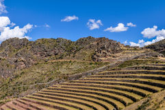 The terraces of Pisac, Sacred Valley, Peru Stock Images
