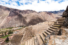 Terraces of Pisac in Urubamba valley near Cusco (Peru) Royalty Free Stock Images