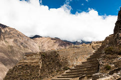 Terraces of Pisac in Urubamba valley near Cusco (Peru) Stock Photo