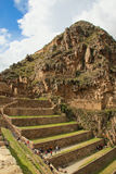 Terraces of Pumatallis at the Inca Fortress in Ollantaytambo, Pe. Ru. Ollantaytambo was the royal estate of Emperor Pachacuti who conquered the region Royalty Free Stock Image