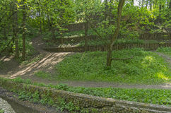 Terraces reinforcing the slope of the ravine. Stock Photos