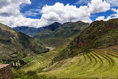Terraces in the Sacred Valley, Peru. View of the Sacred Valley and ancient Inca terraces in Pisac, Peru Stock Image