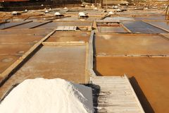 Terraces salt mine. Parcial view of a salt mine located in Rio Maior - Portugal.  the terraces and pine boards with plenty of white salt Royalty Free Stock Photo