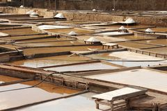 Terraces salt mine. Parcial view of a salt mine located in Rio Maior - Portugal.  the terraces with salted water and pine boards full of white salt Royalty Free Stock Photography