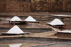 Terraces salt mine. Parcial view of a traditional salt mine located in Rio Maior - Portugal.  the terraces with salted water and pine boards full of white salt Royalty Free Stock Photo