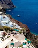 Terraces of Santorini. With cozy terraces of Santorini, a beautiful view of the sea Royalty Free Stock Photo