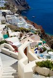 On the terraces of Santorini. Comfortable, stepped streets, coming down the mountain Royalty Free Stock Photo