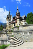 Terraces steps leading to Peles castle Royalty Free Stock Photography