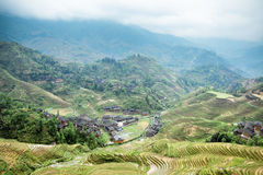 Terraces surround the village Stock Photos