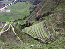 Terraces of Urubamba valley.Below Machu Picchu in Peru. Hill with agriculture terraces and mountain roads stepwise of Machu Picchu in Peru Royalty Free Stock Image