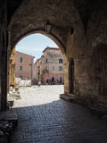 Terracina in Italy. Entrance in Town hall square in Terracina high or ancient. Region Lazio, Italy Stock Image
