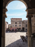 Terracina in Italy. Town hall square in Terracina high or ancient. Region Lazio, Italy Stock Photo