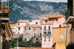 Terracina, Italy. View Of Upper Town stock image
