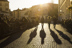 Terracing in Ljubljana city center. Royalty Free Stock Photo