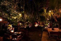 Terracota garden in Chiang Mai, thailand. Terrace of The faces Restaurant at night, Chiang Mai royalty free stock photography