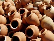 Terracota pots. Beautiful terracota pots in beach Stock Photos