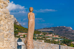Terracota sculpture on top of Eze village in France Stock Photos