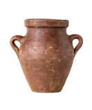 Terracotta amphora on a white background Royalty Free Stock Photos