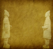 Terracotta army. Figure in china on old grunge antique paper texture stock photography