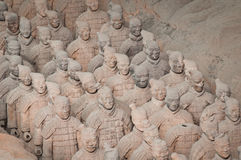 Terracotta army #2. Front shot of the personal guard of first chinese emperor Quin Shi Huang tomb, best known as the Terracotta Army royalty free stock image