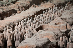 Terracotta army. The personal guard of first chinese emperor Quin Shi Huang tomb, best known as the Terracotta Army stock photography