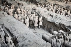 Terracotta Army archaeological site. Xian, China - October 4, 2017: Terracotta Army archaeological site. Three pits contain more than 8000 soldiers, 130 stock photography
