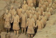 Terracotta Army - China. The ancient Terracotta Army of Qin Shi Huang near the city of Xian in Shaaxi province in China stock photos