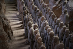 Terracotta Army, China. Xi`an, China - May 27, 2017: Lines of clay statues of ancient chinese warriors, guards of Qin Shi Huang emperor, so called Terracotta royalty free stock images