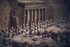 Terracotta Army, China. Xi`an, China - May 27, 2017: Lines of clay statues of ancient chinese warriors, guards of Qin Shi Huang emperor, so called Terracotta royalty free stock image