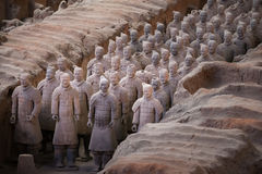 Terracotta Army, China. Xi`an, China - May 27, 2017: Lines of clay statues of ancient chinese warriors, guards of Qin Shi Huang emperor, so called Terracotta royalty free stock photography