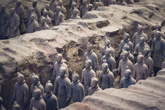 Terracotta Army, China. Xi`an, China - May 27, 2017: Lines of clay statues of ancient chinese warriors, guards of Qin Shi Huang emperor, so called Terracotta stock images
