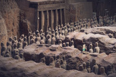 Terracotta Army, China. Xi`an, China - May 27, 2017: Lines of clay statues of ancient chinese warriors, guards of Qin Shi Huang emperor, so called Terracotta stock photo