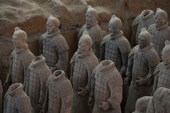 Terracotta Army, China. Xi`an, China - May 27, 2017: Lines of clay statues of ancient chinese warriors, guards of Qin Shi Huang emperor, so called Terracotta royalty free stock photo