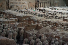 Terracotta Army, China. Xi`an, China - May 27, 2017: Lines of clay statues of ancient chinese warriors, guards of Qin Shi Huang emperor, so called Terracotta stock photos